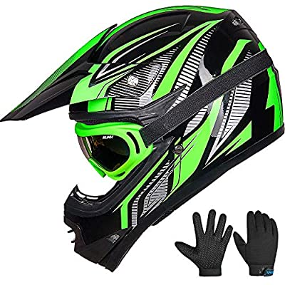 ILM Youth Kids ATV Motocross Dirt Bike Motorcycle BMX Downhill Off-Road MTB Mountain Bike Helmet DOT Approved (Youth-M, Green/Silver)
