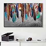 LIANGX Cuadro abstracto nórdico de plumas de colores para pared, póster e impresiones, decoración para el salón, sin marco (30 x 50 cm)