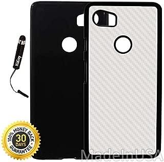 Custom Google Pixel 2XL Case (White Carbon Fiber Design) Plastic Black Cover Ultra Slim | Lightweight | Includes Stylus Pen by Innosub