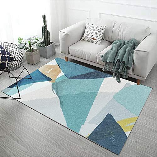 Alfombras alfombras Dormitorio Matrimonio Fácil de Limpiar el diseño geométrico Amarillo Verde Azul para Lavar la Alfombra. Decoracion Cocina decoración de habitación 160X230CM