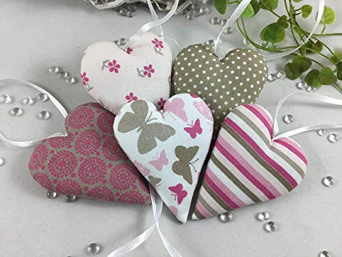 5 Stoffherzen in taupe/pink/weiß/Tönen, Dekoherzen,Schmetterling,