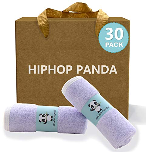HIPHOP PANDA Bamboo Baby Washcloths,30 Pack (Purple) - Hypoallergenic 2 Layer Ultra Soft Absorbent Bamboo Towel - Natural Reusable Baby Wipes for Delicate Skin - Baby Registry as Shower
