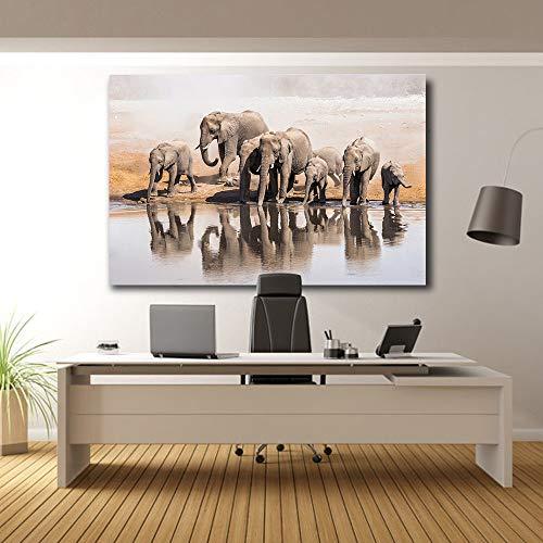Agua Potable de Elefante Africano en una charca_1000pcs_Wooden Puzzle_La Gente Crece el Regalo de Rompecabezas de Montaje de impresión de Amanecer para niños Juguetes educativos para niños_50x75cm