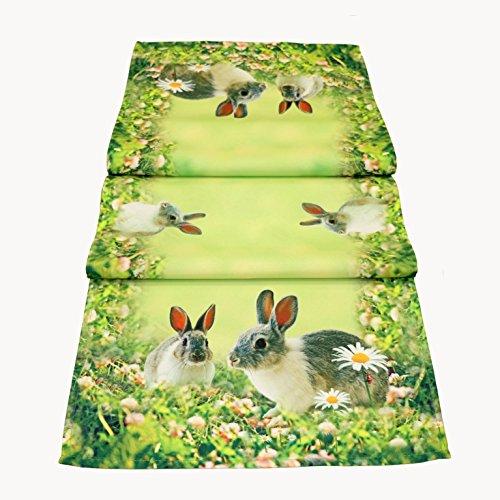 Chemin de table 40x 140cm Nappe Pâques Décoration de table Printemps Vert Multicolore Pâques Pâques Décoration