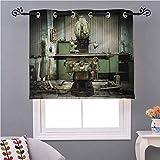 cortina oscurecedora para recámara con diseño de máquinas industriales en la fábrica de 46 x 45 pulgadas