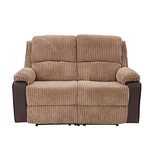 Jumbo Cord Fabric 2 Seater Sofa Manual Recliner Armchair Lounge Sofa Suite Living Room Reclining Chair Soft Padding Sofa For Watching TV Gaming, With Side Pouch (Brown, 2 Seater)