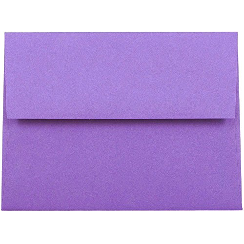JAM PAPER A2 Colored Invitation Envelopes - 4 3/8 x 5 3/4 - Violet Purple Recycled - 50/Pack