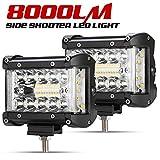 Side Shooter LED Light Pods - 2Pcs 4' 8000LM LED Light Bar Spot Flood Combo Driving Work Lights for Truck Jeep ATV UTV Pickup Boat, IP68, 8000LM.