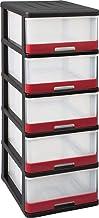 Allibert Hercule 228557 Opbergkast met 5 schuifladen, zwart/rood, kunststof, 50 x 40 x 104 cm, 25 l