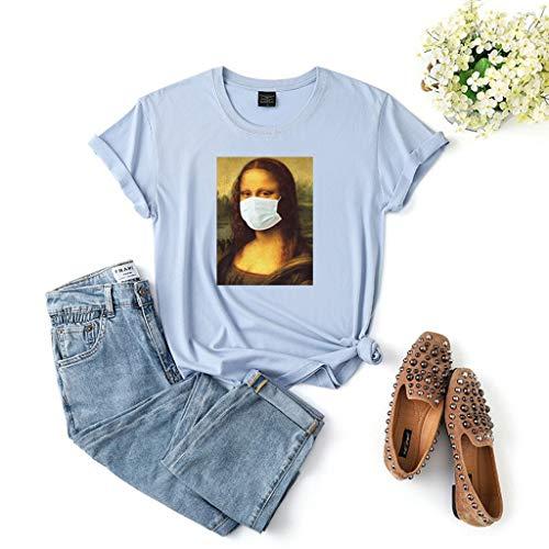 LXHcool Coron_avirus Cat Indossando Una Maschera I Survived Cov_ID 19 T-Shirt Donna (Color : Blue, Size : L)