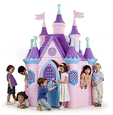 ECR4Kids Jumbo Princess Palace Playhouse, Pink Castle Play House with Turrets and Flags, Full-Sized Door with Musical Doorknob, Indoor or Outdoor Play, Over 8 Feet Tall from ECR4Kids