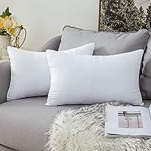 MIULEE Relleno Cojines 30x50 cm Cojín para Sófa Almohada Suave y Mullido Cojines Decorativos para Funda de Cojín Salón Dormitorio Poliéster y Fibra Indeformable 2 Piezas Blanco