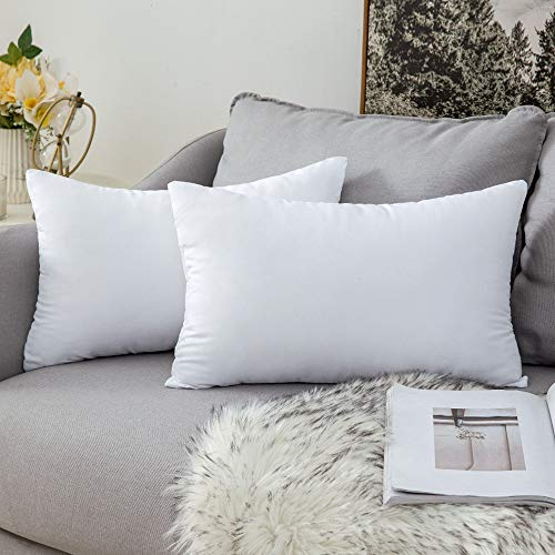 MIULEE 2 Pieces Warm and Soft fluffy Plump White Cushion Inner for Decorative Cushion Cover in Bed Sofa Outdoor pillow Inner 12x20inch 30x50cm Polyester Cotton