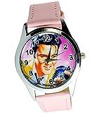 taport® Elvis Presley Cuarzo Redondo Reloj Rosa Real Piel Banda Dial de Color + batería de Repuesto Libre + Libre Bolsa de Regalo