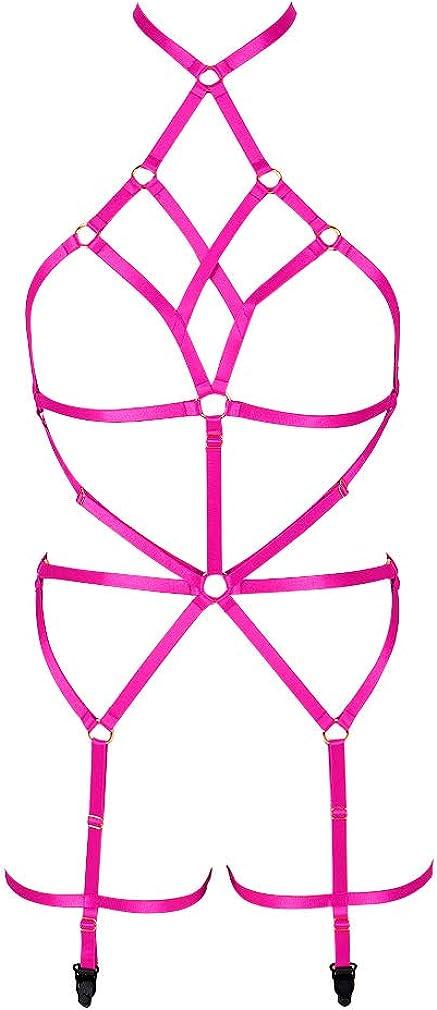 Women's Lingerie cage Set Full Body Harness Bra Garter Punk Gothic Belt Festival Rave Adjustable Strap Stretchy Fabric