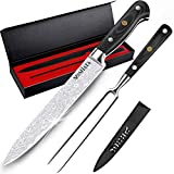 MOSFiATA 8' Carving Knife and 7' Fork Set Sharp Premium Slicing Carving Knife German High Carbon Stainless Steel 4116 Carving Knife and Fork Set - Best for Slicing Roasts, Meats, Fruits and Vegetables