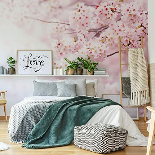 Fotobehang Kersenbloesem 384 x 260 cm (bxh) | Hoogwaardige Kwaliteit Vliesbehang | Eenvoudig te Plakken | Bloemen Behang