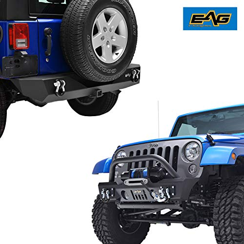 "EAG Fit for 07-18 JK Wrangler Stubby Front Bumper W/Fog Light Housing and Rear Bumper W/2"" Hitch Receiver Combo."