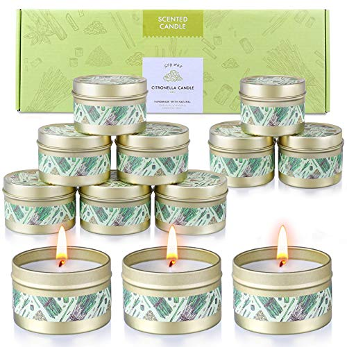 SUPERSUN 12 x 15hrs Citronella Candles Outdoors, 100% Natural Soy Wax Premium Scented Candles with Long Burn Hours for Outdoors, Indoors, Garden, Camping