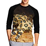 Henrnt Damen Bluse 3/4 Arm T-Shirt Bluse Top Blue Ring Octopus Print T-Shirt Casual Crew Neck Tops...