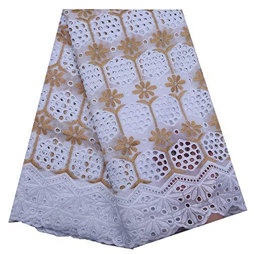 Afrikaanse kant stof Afrikaanse kant stof Zwitserse Voile Lace Borduren Zwitserse Lace Materiaal van de stof for de jurk Naaibenodigdheden (Color : White and yellow, Size : 5 yards)