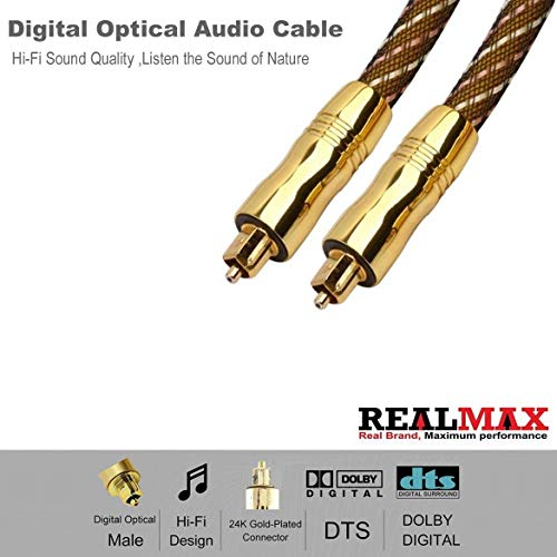REALMAX® Toslink Cable 1m 2m 3m 4m 5m 10m Digital Optical audio Gold Premium Quality ondersteunt alle Toslink apparaten en gadgets (10m, Gold Braided)