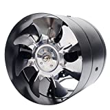 eamqrkt 6Inch Inline Duct Fan Booster Exhaust Blower Air Cooling Vent Metal Blades,Black