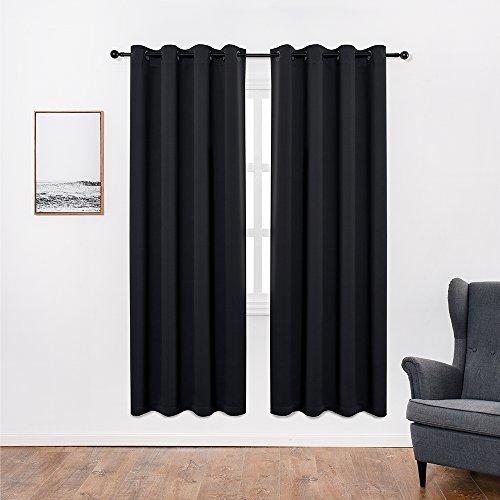 Anjee Eyelet Blackout Thermal Insulated Curtains 2 Panels 168 x 228 cm voor woonkamer/slaapkamer/kinderkamer met 2 bijpassende tie-backs zwart