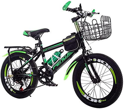 Qianglin Bicicleta de montaña para niños y jóvenes, Bicicleta para niños al Aire Libre de 21 velocidades con Asiento Trasero y Canasta, Marco de Acero al Carbono de 20/22 Pulgadas