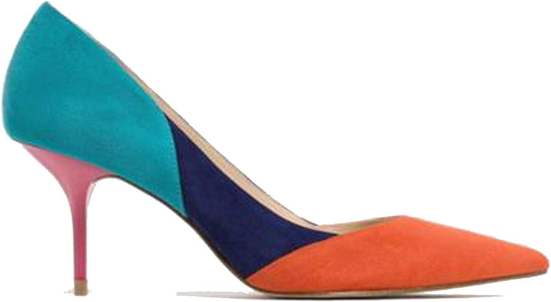 Mixed color Classic Women High Heels shoes 7cm Female Simple Women Pumps Heels Dress shoes orange,8