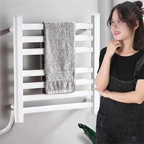 Abodos Riel De Toallas con Calefacción, Panel Plano Radiador Calentador De Antracita Montado En La Pared Estantería para Baño, 50.5 × 50.5 × 6CM,Blanco