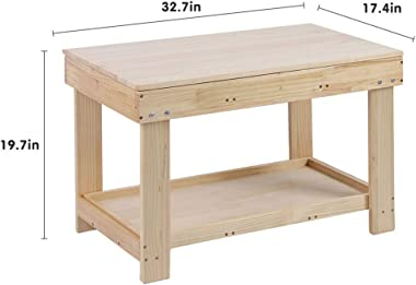 2 in 1 Kids Activity Table Detachable Building Block Table Children Wood Play Table Desk Arts Crafts Table for Boys Girls Lea