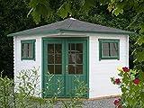 Alpholz Gartenhaus Claudia-28 aus Massiv-Holz | Gerätehaus mit 28 mm Wandstärke | Garten Holzhaus inklusive Montagematerial | Geräteschuppen Größe: 300 x 300 cm | Spitzdach