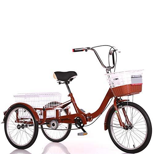 NAINAIWANG Erwachsene Fahrrad Räder Dreirad Trikes 3 Rad Faltbar mit 2 Einkaufskorb Tricycles Seniorenrad Fahrrad Dreirad Cruise Bike Sattel licht Dreiräder für Alter Mann Lastenfahrrad