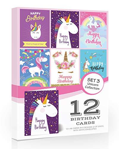 Olivia Samuel Geburtstagskarten, Einhorn-Design, 12 Stück