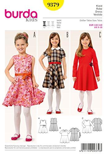 Burda 9379 Schnittmuster Mädchenkleid mit glockenrock und Karomuster (Kids, Gr. 110-140) Level 2 leicht