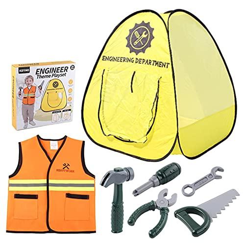 fllyiingu Disfraz de Trabajador de la construccin para nios, Kit de Atuendo de Constructor para nios, Juego de Juguetes de Juego de rol Profesional con Tienda de Herramientas y Chaleco, etc.
