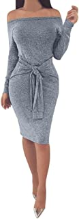 Kangma Sexy Women Winter Bodycon Off The Shoulder Slash Neck Long Sleeve Evening Party Above Knee Dress