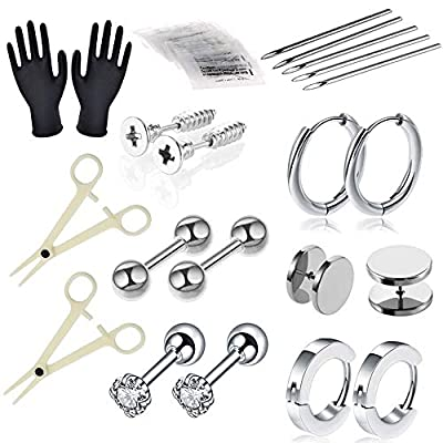 Piercing Kit - Combofix 36Pcs Professional Nose Piercing Kit with 16G 18G Stainless Steel Piercing Needles Piercing Clamps Gloves for Nose Rings Studs Nose Piercing Kit Nose Piercing Supplies