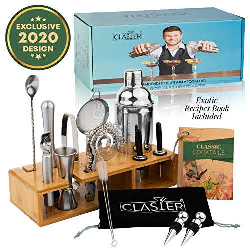 Mixology Bartender Kit - 20-Piece Bar Set With Bamboo Stand By Clasier | Cocktail Shaker Set | Bar Tools Include Cocktail Mixer Set, Wine Bottle Opener, Strainer, Recipe Book, Velvet Carry Bag