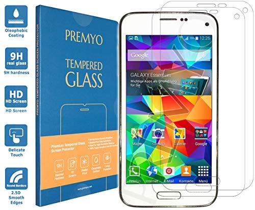 PREMYO 2 Stück Panzerglas Schutzfolie kompatibel mit Samsung Galaxy S5 Mini - Blasenfrei Transparent Anti-Kratzer 9H