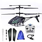 Outdoor Remote Control Helicopter for Kids Age 8 RC Helicopter with Gyro Storage Bag (Black)