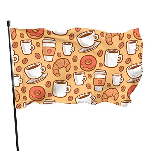 GOSMAO Bandera de 3x5 Ft, Taza de café y Bandera de jardín de rosquillas, Bandera Decorativa para el hogar, Bandera de Patrulla disuasoria