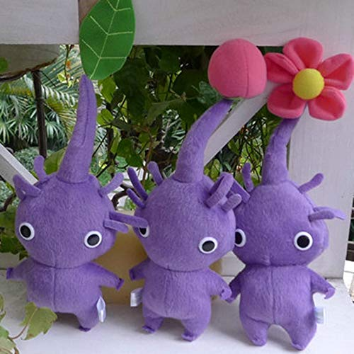 Ksydhwd Peluches Pikmin Game Toy Plush Doll Decoración para El Hogar Juguete De Peluche Muñeco De Peluche Juego De Brote De Hoja De Flor Púrpura 8 cm