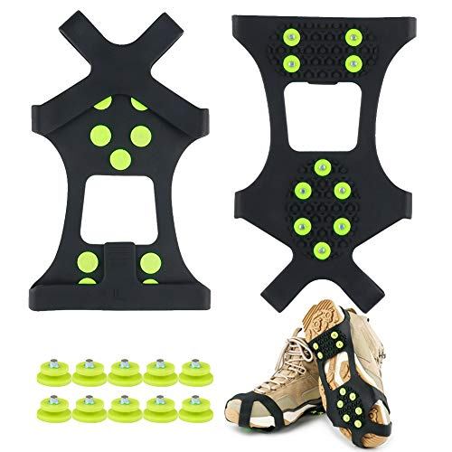 Fengzio Schuhspikes mit Extra10 Spikes Schuhkrallen für Schuhe im Winter Outdoor Anti Rutsch Steigeisen für Damen und Herren Schuh Spikes für Bergschuhe/Schuhkrallen/Eisspikes
