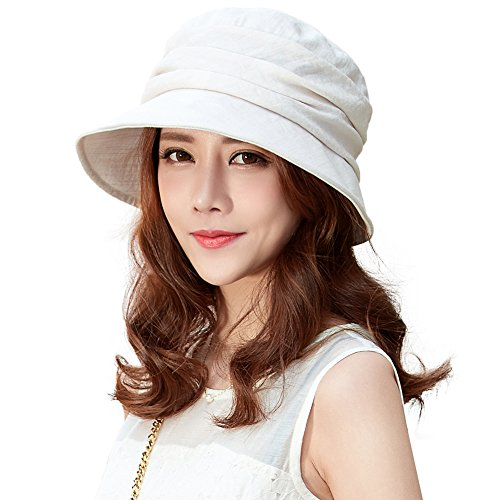 Comhats Faltbarer Damen Sonnenhut Sommerhut mit Kinnband UV 50+ Schutz Beige