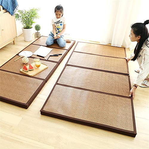 Foldable Mattress Thicken Bamboo Japanese Tatami Mat Cooling Rattan Floor Mat Dormitory Sleeping Pad Exercise Mat for Meditation Space/Yoga/Zen Room/Japanese Tearoom 35.4'x78.7'x1.77'