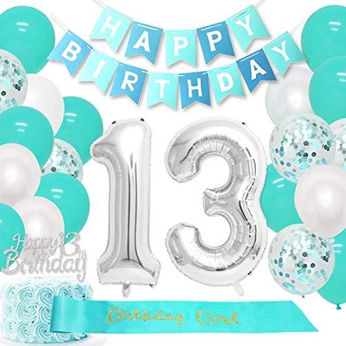 Decoración para 13º cumpleaños para niñas, color verde azulado, suministros para 13º cumpleaños con número 13, globos de cumpleaños