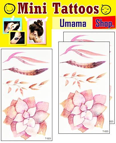 Umama Lot of 3 Mini Tattoos Flower Lotus Tree Leaf Tattoo Cartoon Sticker Cute Flower Temporary Tattoos for Men Women Waterproof Fake Body Art Arm Chest Shoulder 3D