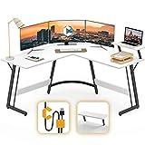 Cubiker Modern L-Shaped Desk Computer Corner Desk, PC Laptop Writing Study Desk for Home Office Wood & Metal, White